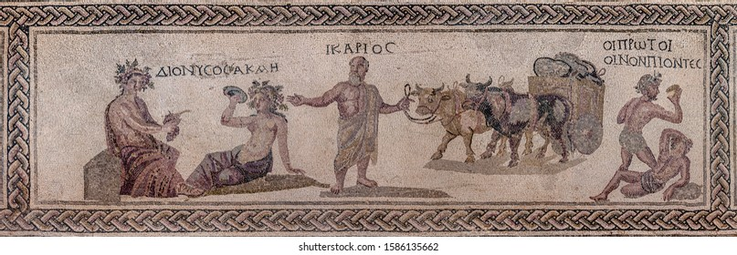 Mosaic from the atrium of the house of Dionysus. Paphos. Cyprus. The inscriptions contain the names of ancient heroes - Dionysus, Akme, Ikariy, First drinkers of wine