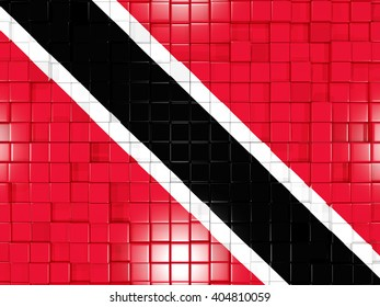 Mosaic background with square parts. Flag of trinidad and tobago. 3D illustration