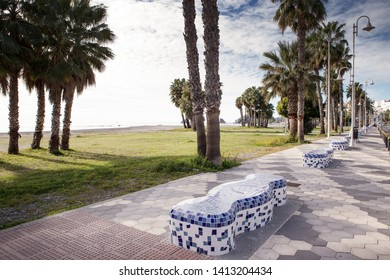 mosaic bench in almunecar spain along a cost road