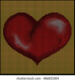 mosaic with big red heart