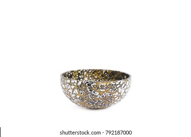 Mosaic bowl isolated on white background. Mosaic bowl in black and white with golden glitter. Mosaic product is popular souvenir from Morocco.