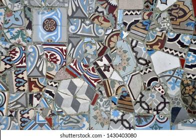 mosaic from broken vintage art nouveau Floor tiles