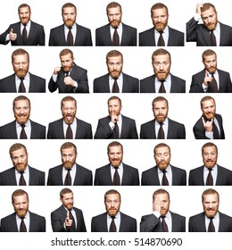 mosaic of businessman expressing different emotions. The bearded businessman with suit with 25 different emotions. isolated on white. studio shot.