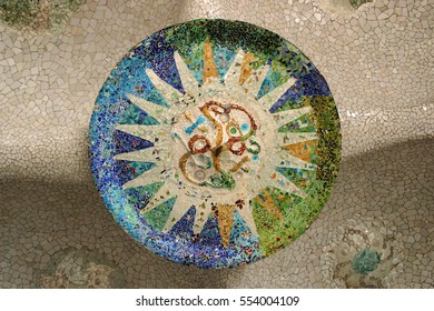 Mosaic ceiling in Guell park in Barcelona designed by Gaudi art colorful background