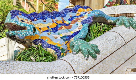 mosaic ceramic dragon, salamandra, lizard fountain - symbol of luck and happiness in Parc Guell, designed by Antonio Gaudi Barcelona, Spain