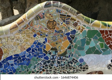 Mosaic chair in Park Guell designed by architect Antoni Gaudi in Barcelona, Spain