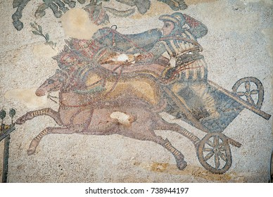 Mosaic of a chariot: floor of the old roman Villa del Casale of the 4th century A.C. Unesco world heritage, Piazza Armerina, Sicily