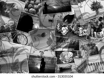 Mosaic collage mix travel in summer 2015 with pictures of different places, landscapes and objects shot by myself black and white and vintage textured