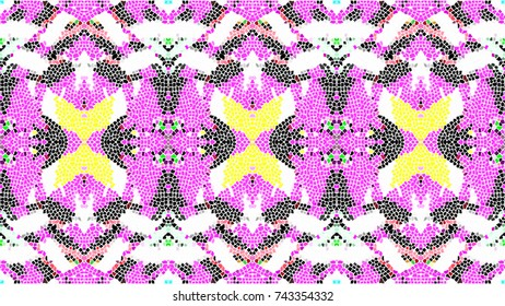 Mosaic colorful artistic horizontal pattern for textile, design and backgrounds