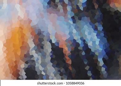 Mosaic, cubism, geometry, figure, puzzle, elements, many, glass, polyhedron, Black orange dark blurred abstract background texture illustration banner brochure template with place for text
