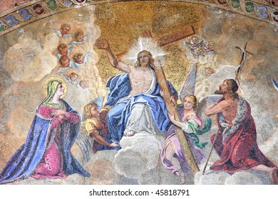 Mosaic depicting Ascension of Jesus Christ in Saint Mark's Basilica - cathedral church of Venice, Italy.