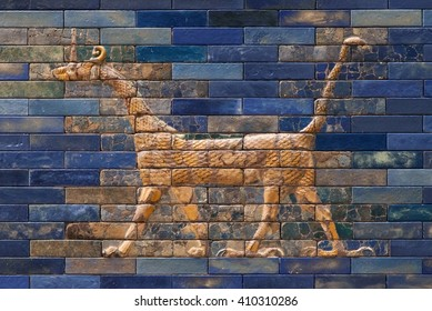 Mosaic of a Dragon on the Ishtar Gate, Berlin, Germany.