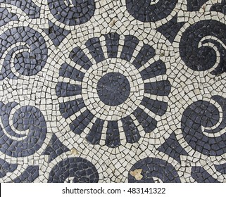 Mosaic floor, detail of a typical floor of the streets of Lisbon