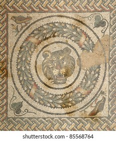 Mosaic fragment Roman Villa Romana del Casale, Sicily. UNESCO World Heritage Site. The first photographs after the discovery in April 2011.