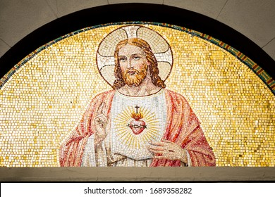 Mosaic fresco in a church, Italy