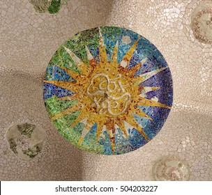 mosaic in Guell Park, Barcelona city