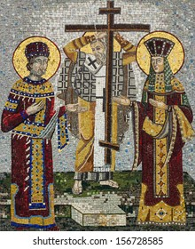 Mosaic icon of Saint Konstantin and Saint Helena in Serbian Orthodox Christian monastery Ostrog, Montenegro. Holy Cross Day.