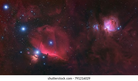 a mosaic image of the Orion molecular cloud complex in the constellation Orion taken through backyard telescope