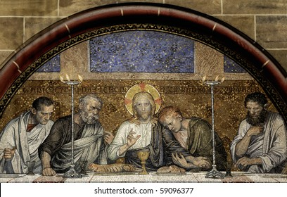 Mosaic of the Last Supper of Christ from Bremen Cathedral (Bremer Dom or St. Petri Dom zu Bremen). Great file for your Easter Card, Easter article or brochure.
