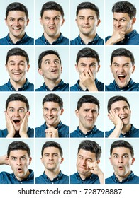 Mosaic of man expressing different emotions isolated