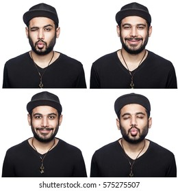 Mosaic of middle eastern expressing different emotions. The bearded man with black t-shirt and cap with four different happy kissing wink emotions. isolated on white. studio shot.