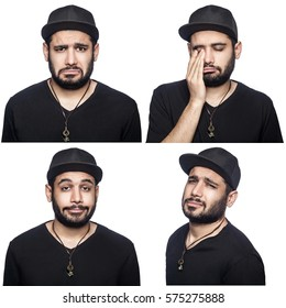 Mosaic of middle eastern expressing different sad emotions. The bearded man with black t-shirt and cap with four different unhappy emotions. isolated on white. studio shot.