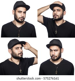 Mosaic of middle eastern expressing different emotions. The bearded man with black t-shirt and cap with four different emotions with hands. isolated on white. studio shot.