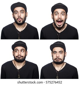 Mosaic of middle eastern expressing different excited emotions. The bearded man with black t-shirt and cap with four different surprised emotions. isolated on white. studio shot.