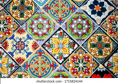 mosaic, multi-colored tiles, Oriental ornament, background