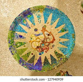 mosaic on the ceiling of the Hypostyle Hall in Parc Guell in Barcelona.