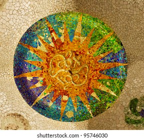 mosaic on the ceiling of the Hypostyle Hall in Parc Guell in Barcelona, Spain