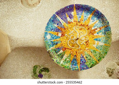 Mosaic on the ceiling in the Park Guell
