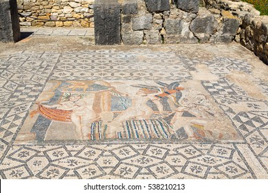 A mosaic painting depicting Diana surprised by Actaeon while bathing, in House of Venus, ancient Roman city of Volubilis, a Unesco World Heritage site, Morocco.