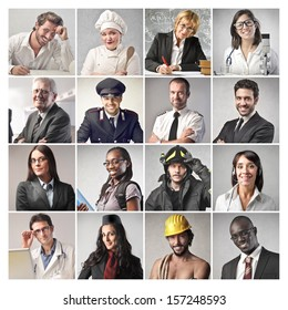 mosaic of people doing different professions