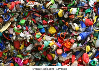 mosaic of plastic bottle tops