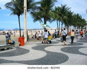The mosaic promenade and Copacabana Beach.