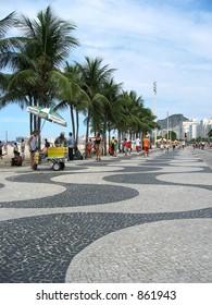 The mosaic promenade on Copacabana Beach.