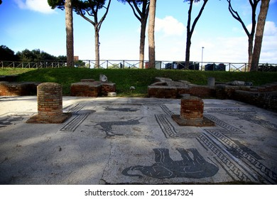 Mosaic with the representation of animals among the trunks of the pines and the green of the lawn, Piazza delle gilde or corporazioni, Scavi di Ostia Antica, Rome, Italy - Shutterstock ID 2011847324