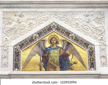 Mosaic of Saint Michael on the facade of  Serbian Orthodox Church in Trieste