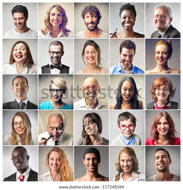 mosaic of satisfied people