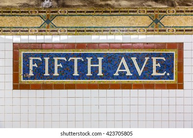 Mosaic sign at The Fifth Avenue Subway Station in Manhattan