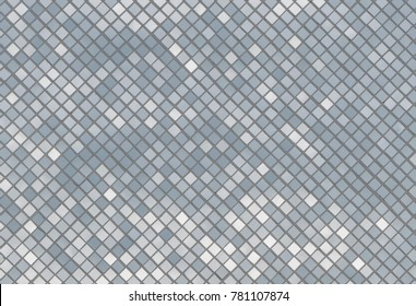 Mosaic silver tiles texture wall with light reflection, abstract seamless white and gray silver tiles background and wallpaper