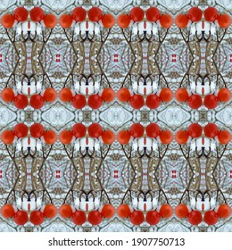 Mosaic symmetrical pattern made of icy wild red berries in the snow, winter, bushes, optical design, artistical pattern and decor, orange or red berries