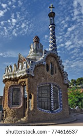 mosaic tile, decoration, broken geometrical, Park Guell, Barcelona, Spain. Designed by Gaudi
