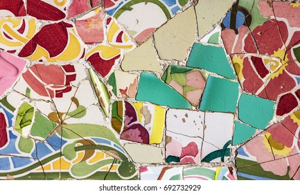 mosaic tile, decoration, broken glass, Park Guell, Barcelona, Spain. Designed by Gaudi