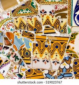 mosaic tile, decoration, Park Guell, Barcelona, Spain.