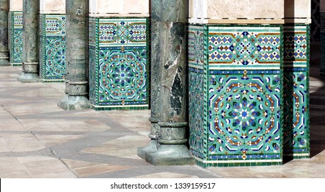 Mosaic tile decorations on the exterior square columns of the Hassan II mosque, Casablanca, Morocco
