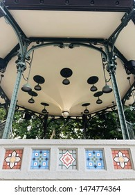 Mosaic tiles line the Oskaloosa Bandstand in the square