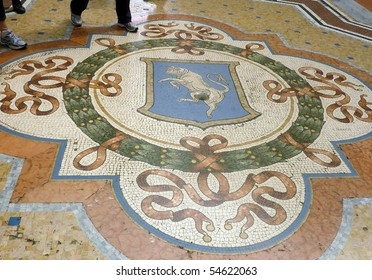Mosaic of Torino bull in Milan, Italy