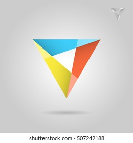 Mosaic triangle logo sign, tessellated glass concept, 2d illustration on grey background, raster